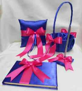 Royal blue fuchsia flower girl basket ring pillow guest book pen any image is loading royal blue fuchsia flower girl basket ring pillow mightylinksfo