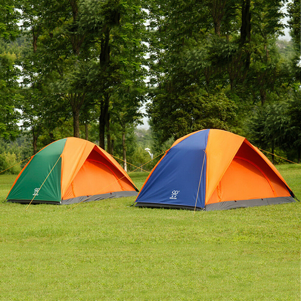 Windproof Waterproof  Double-layer 4 Person Tent Camping Hiking 3 Season orange  order now with big discount & free delivery