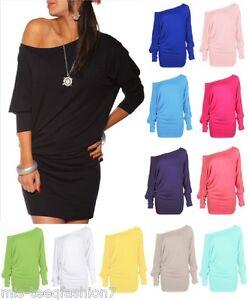 Womens-Long-Sleeve-Off-Shoulder-Mini-Batwing-Tunic-Dress-Top-Plus-Sizes-UK-8-30