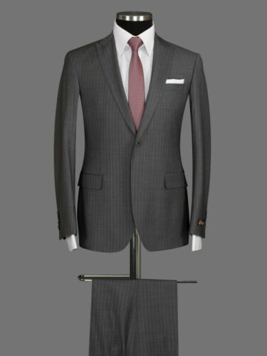 Herren Anzug Sakko Hose Business Hochzeit Bräutigam Grau gestreift Slim Fit 3tlg