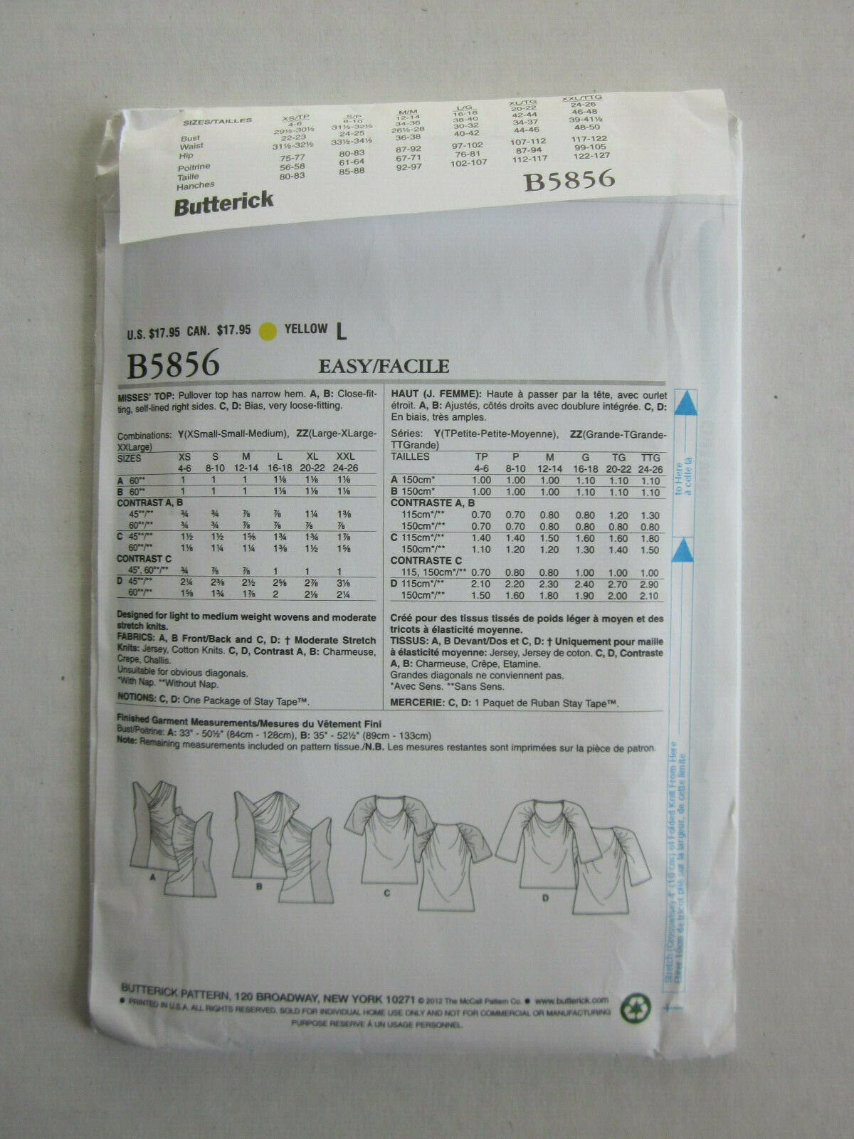 Butterick 5856 Misses/' Top    Sewing Pattern