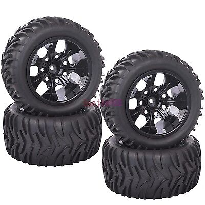 SET RC 1:10 Off-Road Bigfoot Monster Truck Tyre Tires & Wheel Rim Black 88045