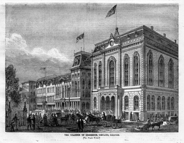 CHICAGO CHAMBER OF COMMERCE, ARCHITECTURE, HORSES, CARRIAGES, ANTIQUE ENGRAVING