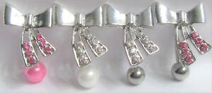 Surgical Steel Ornate Crystal Gem VCH Vertical Hood Clit Clitoral Piercing 14g