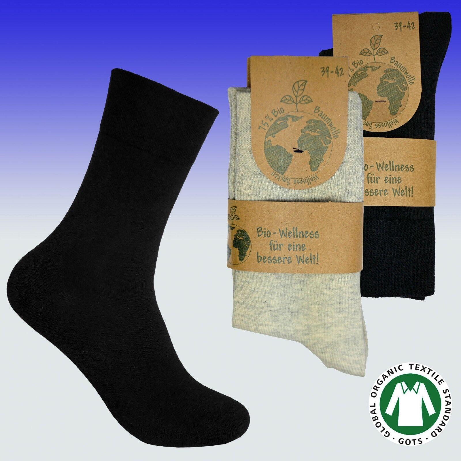 3 Paar Damen Wellness Socken 75/% Bio Baumwolle weicher Bund schwarz 35 bis 42