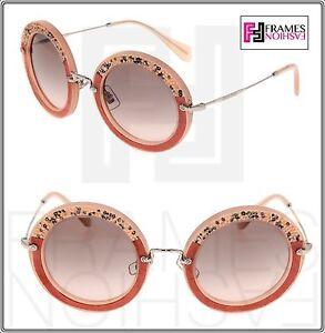 4ef6b4e3f MIU MIU NOIR Crystal ROCK SMU 08R Pink Suede Silver Round Sunglasses ...