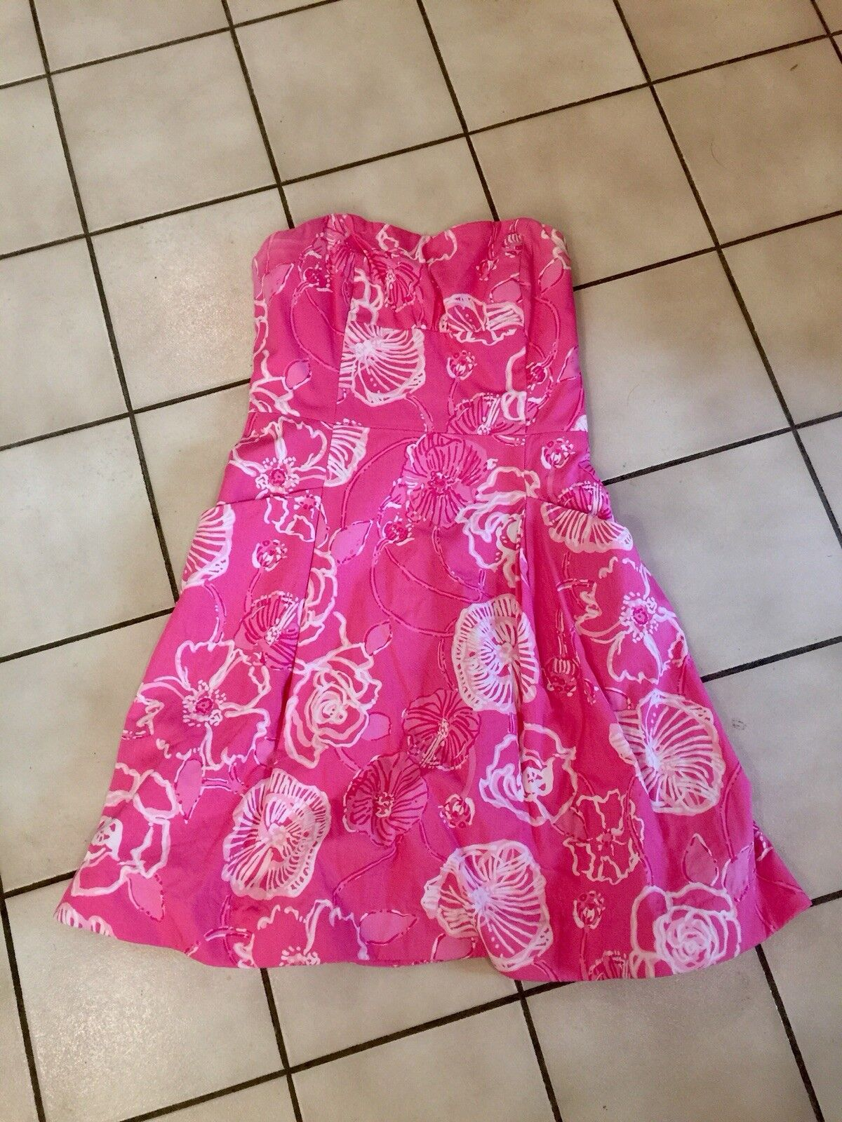 LILLY PULITZER Hot Pink Strapless Dress Size 6