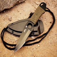 Ultimate Survival Neck Boot Knife Full Tang With Serrated Edge And Sheath