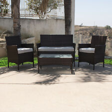 4PCS Outdoor Rattan Wicker Patio Garden Sofa Couch Furniture Set Dark Brown NEW
