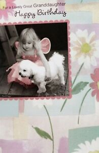 For-a-lovely-Granddaughter-happy-Birthday-greeting-card-girl-amp-dog-theme-new