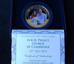 2013-GOLD-PLATED-PROOF-5OZ-COOK-ISLANDS-5-COIN-BOX-COA-BIRTH-PRINCE-GEORGE