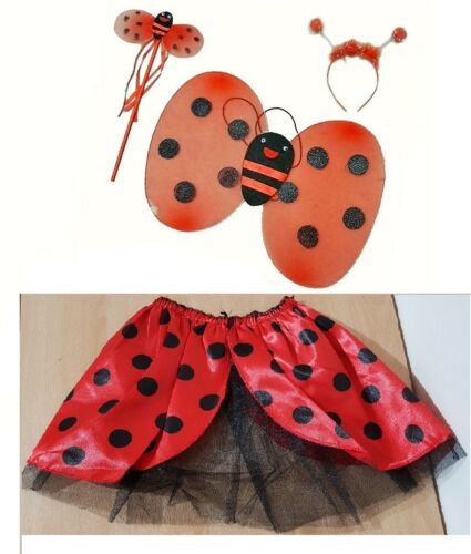 A Beautiful Ladybird Wing Wand  NEW Tutu and Bopper Fancy Set for Kids//Girls