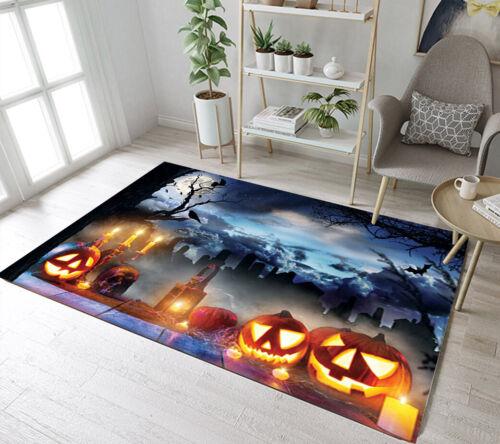 Horror Halloween Pumpkin Skull Yoga Carpet Floor Mat Living Room Decor Area Rugs