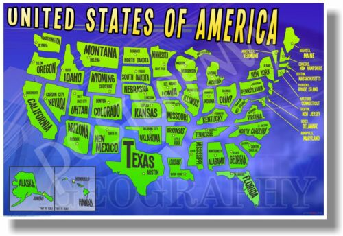 United States Map NEW Classroom American Geography POSTER