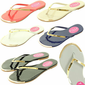 Ladies-Womens-Summer-Flat-Flip-Flops-Beach-Gold-Toe-Thongs-Shoes-Sandals-Size