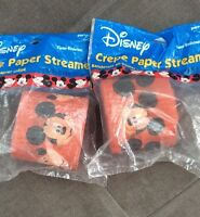 Disney Mickey Mouse Crepe Paper Party Streamers Lot Of 2 60 Feet Decorations