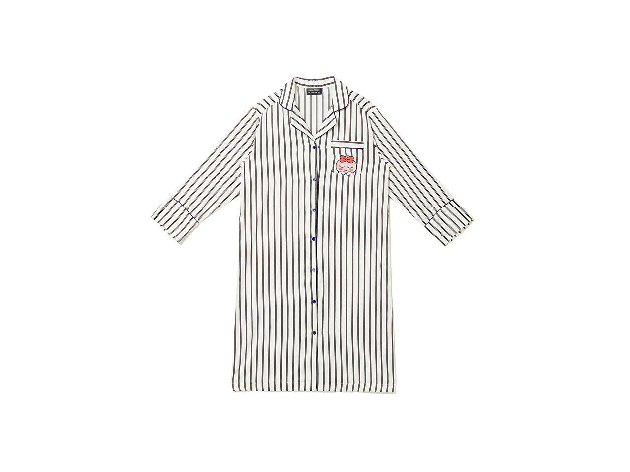 Kakao Friends Stripes Pattern Dress Pajamas Women Free Apeach Sleepwear Clothes