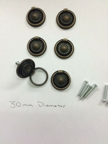 6x Drawer Handles Victorian//Georgian //Antique Style Bronze Ring Pull Knobs,30mm