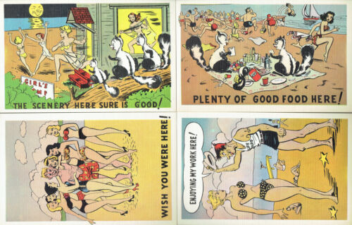 early 1950s 4 Unused Humorous 'At the Beach' Cartoon Post Cards Vintage Four