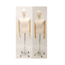 Adult Male Hard Foam Torso Dress Form With Flexible Arms And Removable Head