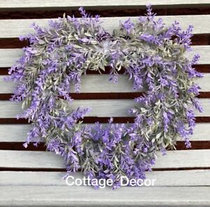 15-034-40cm-SHABBY-CHIC-ARTIFICIAL-LAVENDER-WREATH-HEART-SHAPE-HOME-COUNTRY-DECOR
