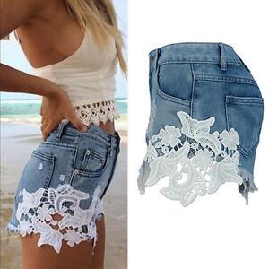 Womens Ladies High Waist Tassel Hole Shorts Jeans Denim Lace ...