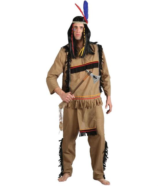 Mens Brave Indian Warrior Costume Apache Wild West Western Adult Fancy Dress New