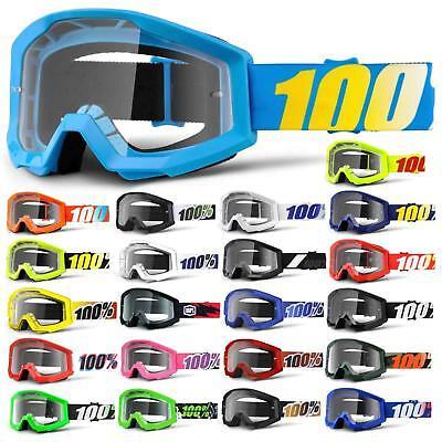 Disciplinato 100% Strata Goggle Occhiali Chiaro Mtb Mx Downhill Mountain Bike Moto Cross-