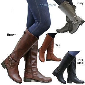 b8e870ac5faa New Women SBHr Tan Black Gray Brown Buckle Riding Knee High Boots ...