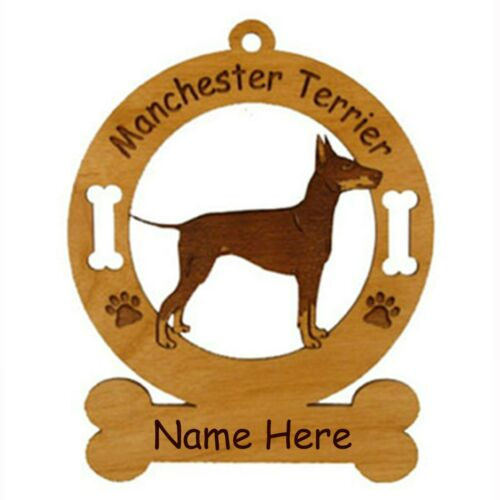 Manchester Terrier Standing Dog Ornament Personalized With Your Dogs Name 3536