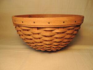 LONGABERGER-9-034-Bowl-Basket-with-Khaki-Liner-2004