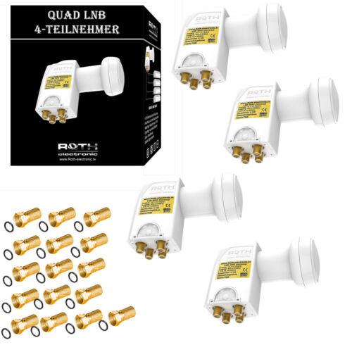 4x Quad LNB vergoldet High Empfang LNB Full HD 4K Ultra HD 16x F-Stecker 0,1dB