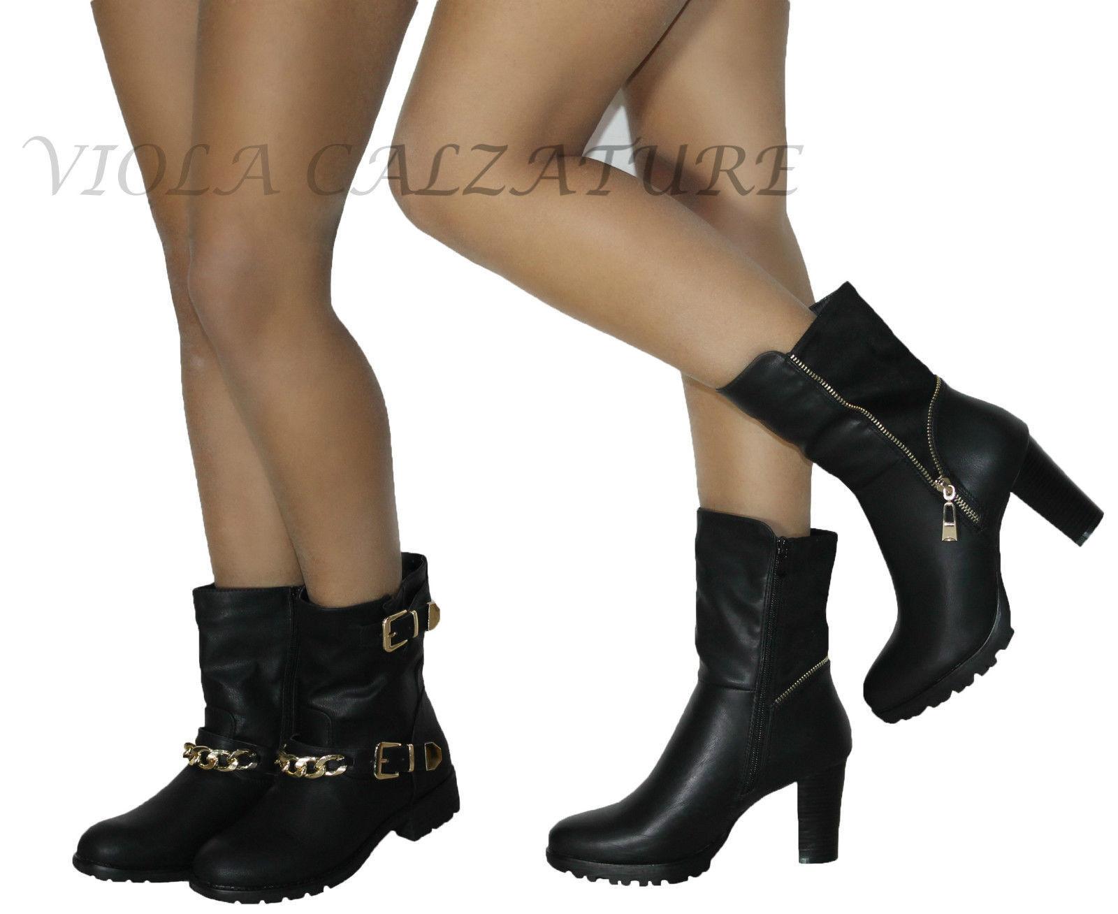 Stivali Donna Stivaletti Eleganti Biker Boots Catena cinturino n° 38 39 40