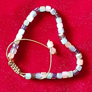 Bohemian Bracelet Pink Crystal Stone Bead Macrame Healing Ethnic Tibet Reiki UK