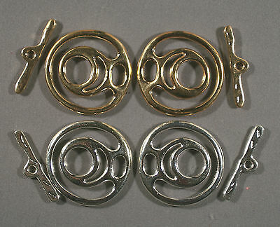 JESSE JAMES BEADS GOLD & SILVER TONE LARGE LEAD-FREE FREEFORM TOGGLE CLASPS 35MM