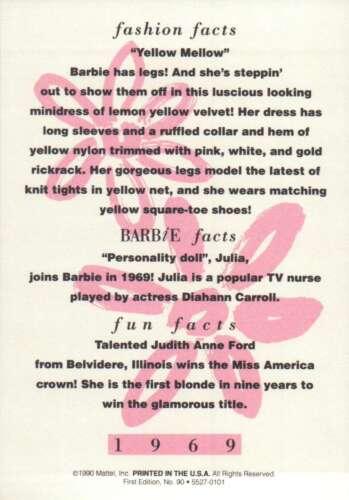 """Barbie Collectible Fashion Trading Card  /"""" Yellow Mellow /"""" Velvet Minidress 1969"""