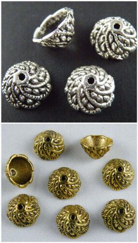 120pcs Tibetan Silver//Gold Color Flower Bead Caps 11x6mm 535