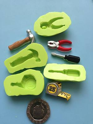 Set of 4 tools silicone mould, hammer, tape measure etc - cake decorating, fimo