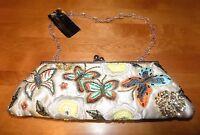 Sasha Handbags Beaded Handbag Purse Butterfly Design Evening Bag With Tags