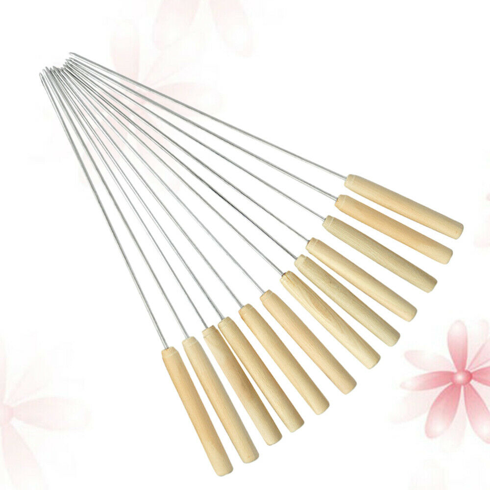 12pcs Outdoor Barbeque BBQ Wooden Handle Stainless Steel Skewers Needles Forks