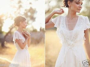 2018 Simple Cap Sleeve Chiffon Outdoor Bridal Gowns Bohemian Wedding ...