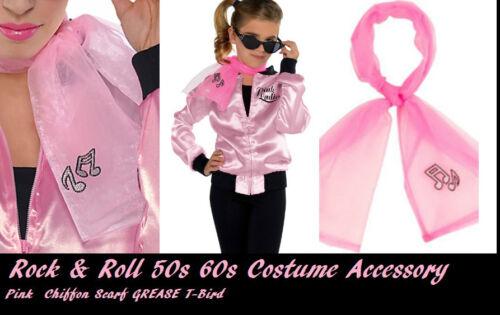 Rock /& Roll 50s 60s  car hop GREASE Pink Lady Costume Chiffon Rhinestone Scarf