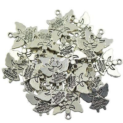 30 Silver Alloy Angels Watching Over Me Charms Pendants Jewelry Findings