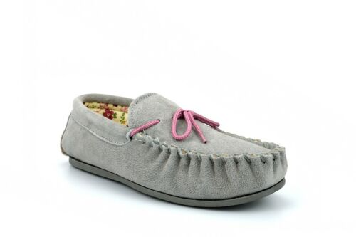 Womens Moccasin Slippers Ladies Moccasin Slippers Genuine Real Suede Grey Size