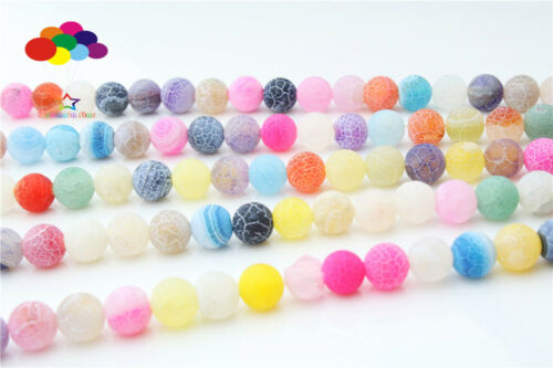Diy 6//8//10 mm Natural Multi-Color Weathered Stone Round Beads fit Yoga bracelet