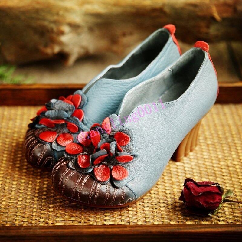 Señoras para mujer Vintage Moda Flor Tacones Bloque De Bloque Tacones Mary Jane Zapatos Mocasín Retro en 6b110c
