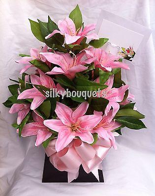 Modesto Le Madri Giorno Lily Scatola Bouquet Regalo Di Seta Artificiale Fiori Composizione Floreale-mostra Il Titolo Originale