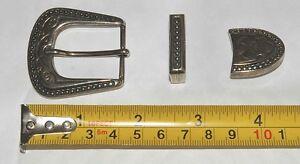 Vintage années 70 style Western Boucle de ceinture finition argent 25mm 1  pouce raccord 3 pièces b57c7c99aef