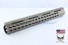 "FDE 15"" Inch Super Slim Free Float Keymod Handguard TAN 223/556 STEEL BN"