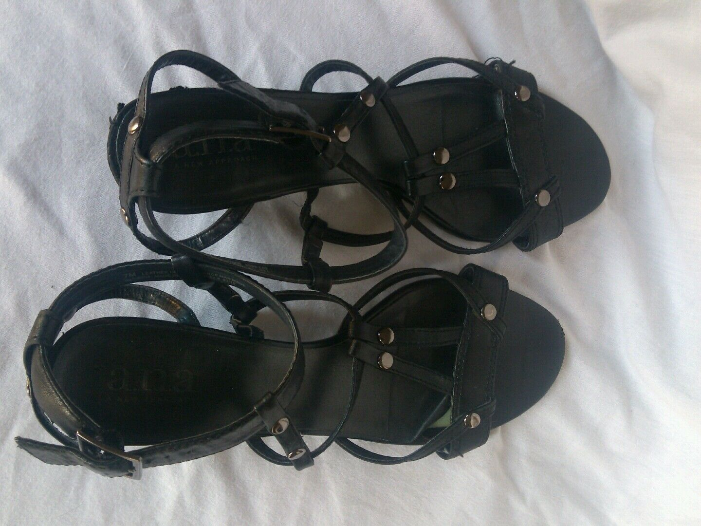 A.N.A. Black Strappy Wedges with Ankle Strap and Studs Size 7